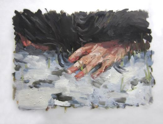 """Snow Press"", 2013, oil on vellum, 9 x 12"""