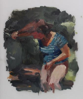 """Tangled Study"", 2016, oil on vellum, 13"" x 10"""