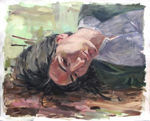 """Anne Petty, """"Thinking from the Ground"""", 2016, oil on paper, 23"""" x 28.5"""""""