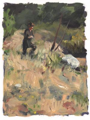 "Anne Petty, ""Trudging 2"", 2014, oil on vellum, 9"" x 12"""