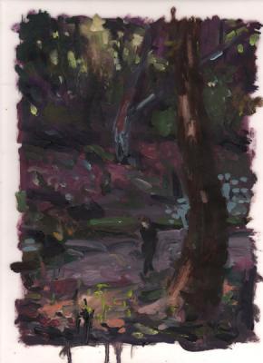 """""""Wanderer"""", 2015, oil on vellum, 12 x 9"""""""