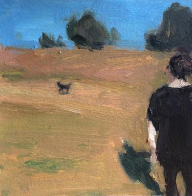 "Anne Petty, ""Watcher"", 2017, oil on paper, 5.75"" x 5.75"""