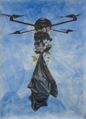 "Robert Pruitt, ""Archangel"", 2015, mixed media on paper, 84"" x 60"" unframed"