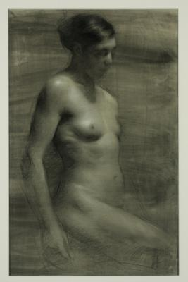 """Yma'"", 2011, charcoal on toned paper, heightened with white"