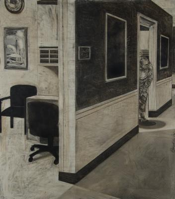 "David Bailin, ""Hallway"", 2014, charcoal and coffee on prepared paper, 62 x 52.75"""