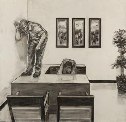 "David Bailin, ""Listening"", 2012, coffee & charcoal on prepared paper, 52 x 52"""