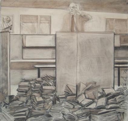 """Prow"", 2012, charcoal & coffee on prepared paper, 52 x 54"""