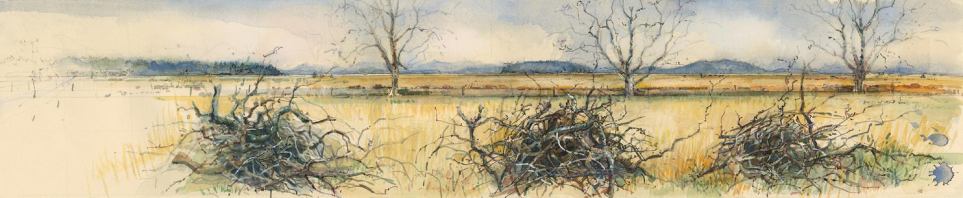 "Elizabeth Ockwell, ""Bayview- Edison Rd."", 2010, mixed media on paper, 6.25 x 30"""