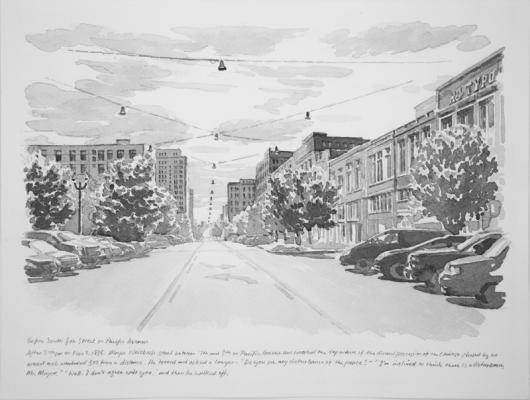 """Before South 8th Street on Pacific Avenue"", 2017, Chinese ink on paper, 9"" x 12"""