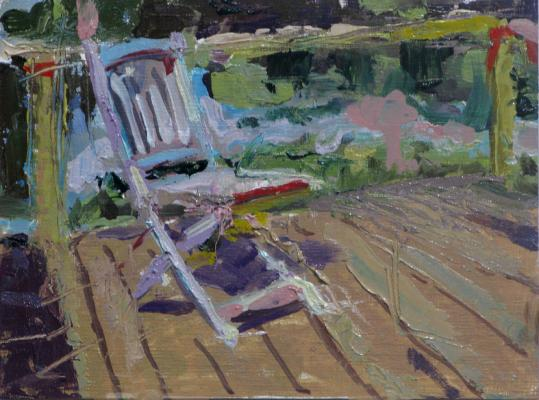 """Deck Chair"", 2014, oil on panel, 6 x 8"" image, 12 x 14"" framed"