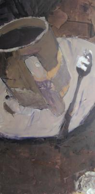 "Bill Sharp, ""White Cup with Spoon"", 2015, oil, 36 x 18"""