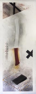 "Fred Birchman, ""Hatchet Job"", mixed media on paper, 50 x 19"""