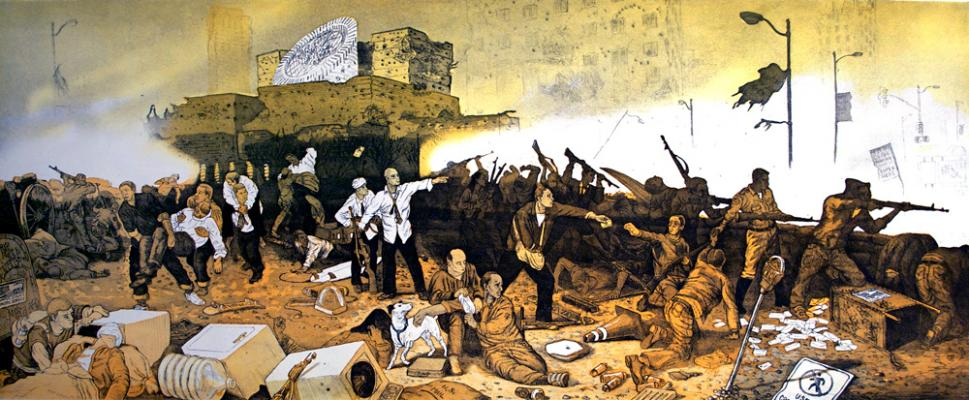 """The Abandonment of SF MOMA at the Battle of San Francisco"", 2002, 2 plate etching on cotton rag paper, 41.5 x 21"""