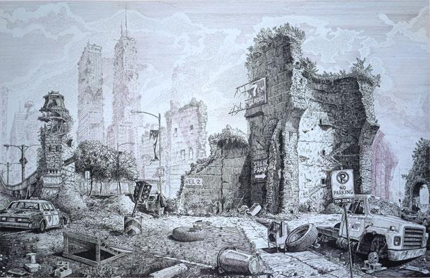 """A View of the Ruins of the City of Chicago"", 2001, acrylic and ink on canvas, 44 x 66"""