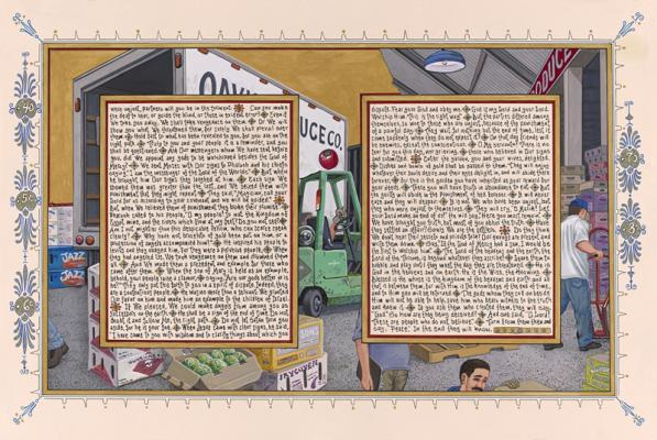 "Sandow Birk, ""American Qur'an: Sura 43B"", Suite of 2, 2013,  ink and gouache on paper, 16"" x 24"" im., 19"" x 27"" fr."