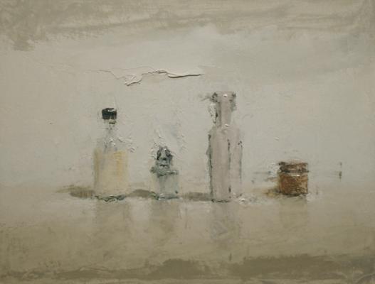 "Brian Blackham, ""Bottle with Paper Label"", 2013, oil on panel, 8.5 x 11"""