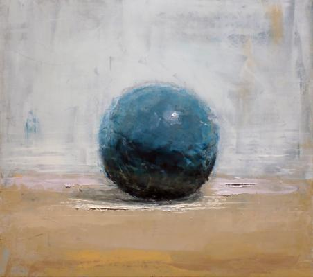 "Brian Blackham, ""Marble on Tabletop"", 2013, oil on panel, 9 x 10"""
