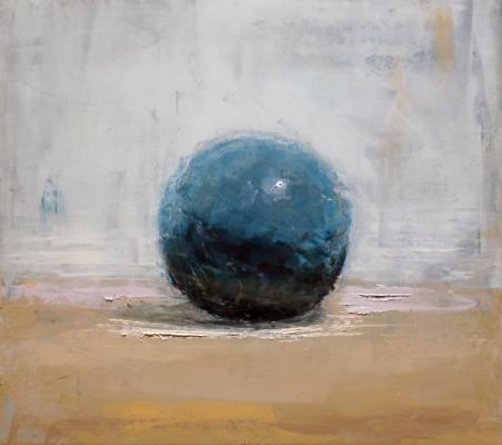 "Brian Blackham, ""Marble on Tabletop"", 2013, oil on panel, 9 x 10"""