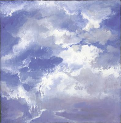 """Blue Clouds"", 2015, oil on board, 15 x 15"" image, 16 x 16"" framed"