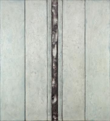 "Dale Lindman, ""Blue Morning"", 2016, encaustic on birch panels, 48"" x 43.5"""