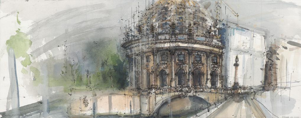 Elizabeth Okwell, Bode Museum, Berlin 2001, pencil, ink, and watercolor on paper