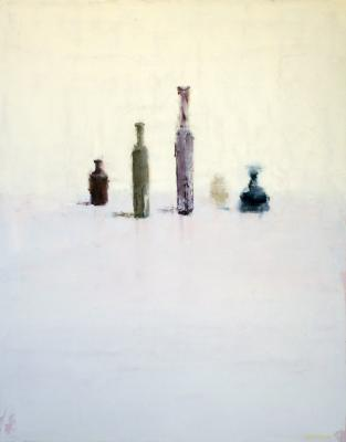 "Brian Blackham, ""Emerging Bottles"", 2014, oil on panel, 23 x 18"""