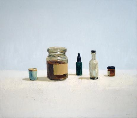 "Brian Blackham, ""Glass Jar Lid"", 2009-11, oil canvas, 26 x 30"""