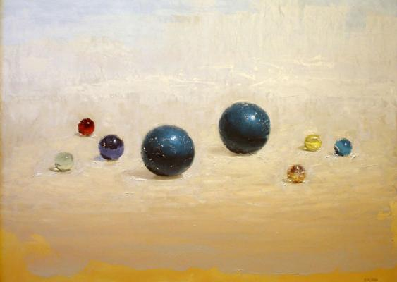 "Brian Blackham, ""Glass Marble"", 2012-14, oil on panel, 18 x 24"""