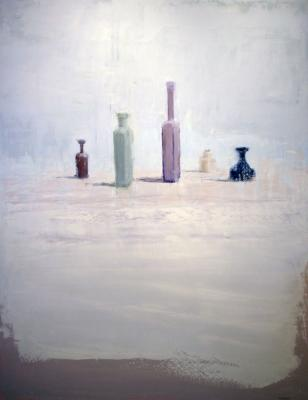 "Brian Blackham, ""Green Bottle, Vase"", 2014, oil on panel, 48 x 36"""