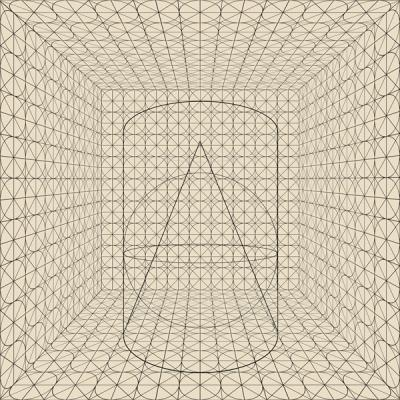 """Gridded Circle Room with Geometric Solids, Number 1, Beige"", 2014, archival inkjet print, ed. of 3, 20 x 20"""