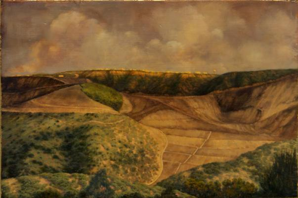 "Darlene Campbell, ""Land Reform"", 2009, oil on wood block with gold leaf, 8"" x 12"""