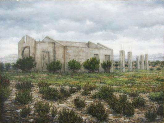 """Darlene Campbell, """"Incomplete Ruin"""", 2014, oil on panel, 9 x 12"""""""
