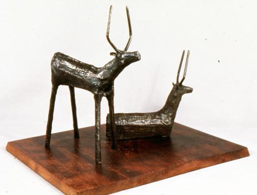 "Phillip Levine, ""Caribou"", 1986, Bronze 13"" x 14"" x 11"""