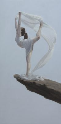 "Judy Nimtz, ""Air (cearuleus)"", 2015, oil on panel, 48"" x 24"""