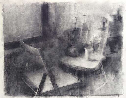 """Eric Elliott, """"Chairs"""", charcoal on paper, 17 x 22"""""""