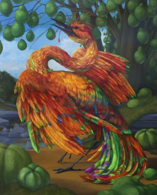 "Laurie Hogin, ""Chemical Love Birds: Schizoanalysis 2"", 2014, oil on canvas, 30"" x 24"""
