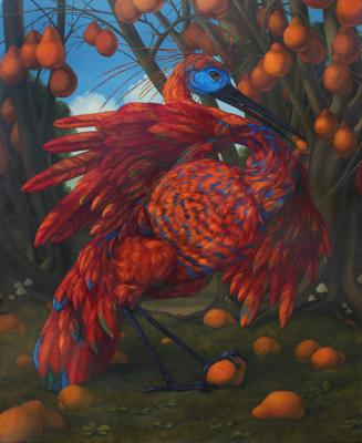 "Laurie Hogin, ""Chemical Love Birds: Psychotopia"", 2014, oil on canvas, 30"" x 24"""