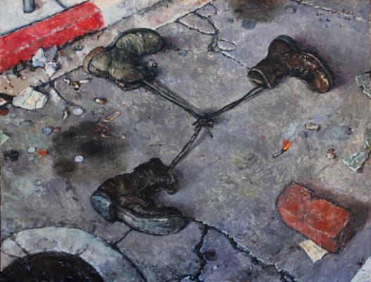 "Chester Arnold, ""Road Kill"", 2007, oil on linen, 20.75 x 26.75"""