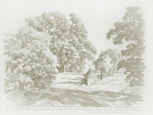 "Zhi Lin ""The Chinese Crematory in Auburn"", 2007, Chinese ink on paper, 8.5"" x 11"""