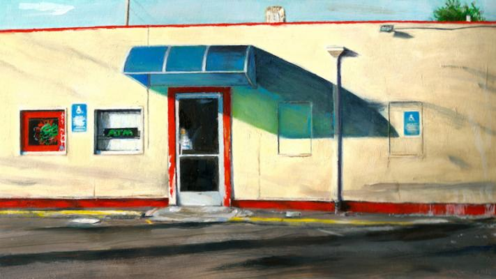 """Cigarette Store on 82nd"", 2015, oil on paper, 5.5 x 9.75"""