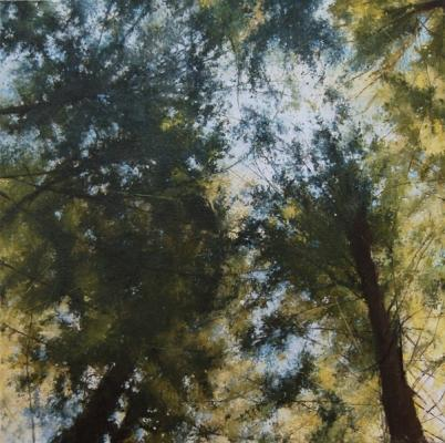 "Kimberly Clark, ""Old Pacific Coast Highway"", 2015, oil on linen, 18"" x 18"""
