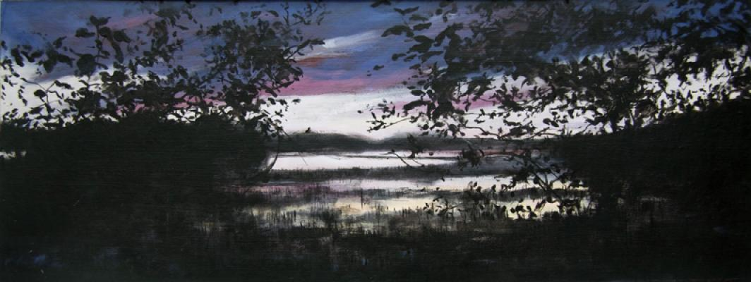 """Recollections of Flying Pond VI"", 2014, oil on paper, 7 x 18"""