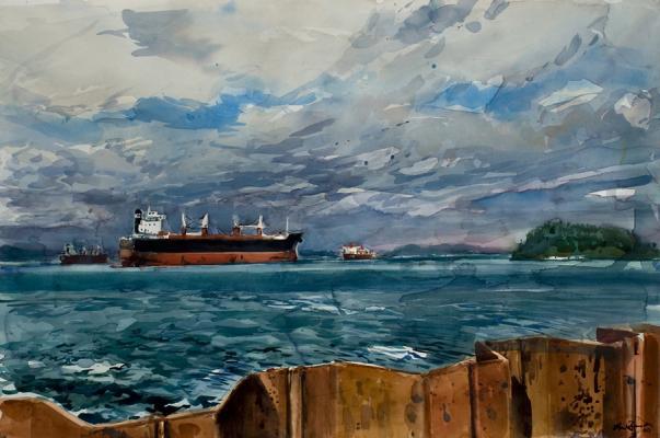 "Henk Pander, ""Columbia River, Astoria, OR"", 2009, watercolor on paper, 40 x 60"""