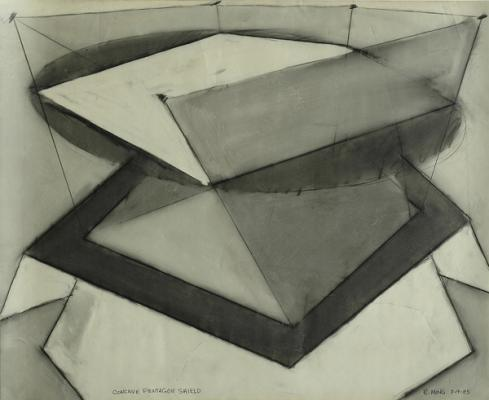 "Robert Maki, ""Concave Pentagon Shield"", 1985, graphite on vellum, 19 x 24"""