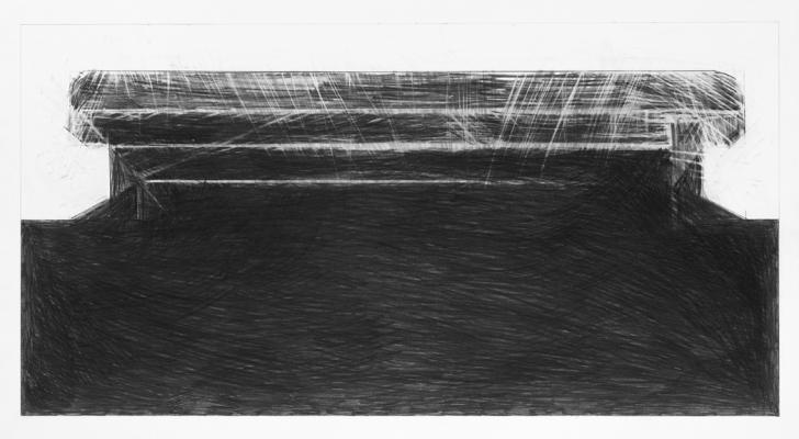 """Steve Costie, """"Concrete Form #4"""", 2011, graphite on paper, 23 x 29"""" paper size"""