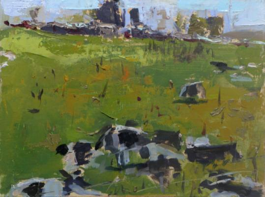 """Cows at Coon"", 2013, oil on panel, 9 x 12"""