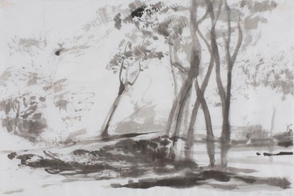 "Philip Govedare, ""Creek"" 2007, ink on paper, 12x18"""