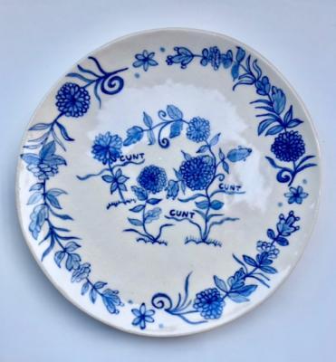 """Elyse Pignolet, """"Cunt"""", 2018, ceramic plate with glazes, 10.5"""" diameter"""