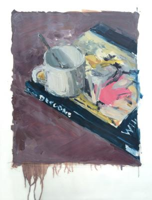 """Anne Petty, """"Cup and Book"""", 2015, oil on vellum, 14 x 11"""""""