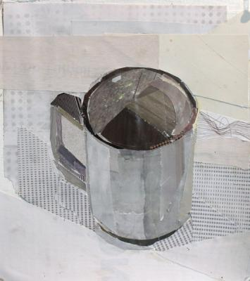 """Kathy Liao, """"Cup 1"""", 2015, collage on paper, 7 x 8"""""""